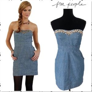 Free People Denim Stud Strapless Mini Dress 4